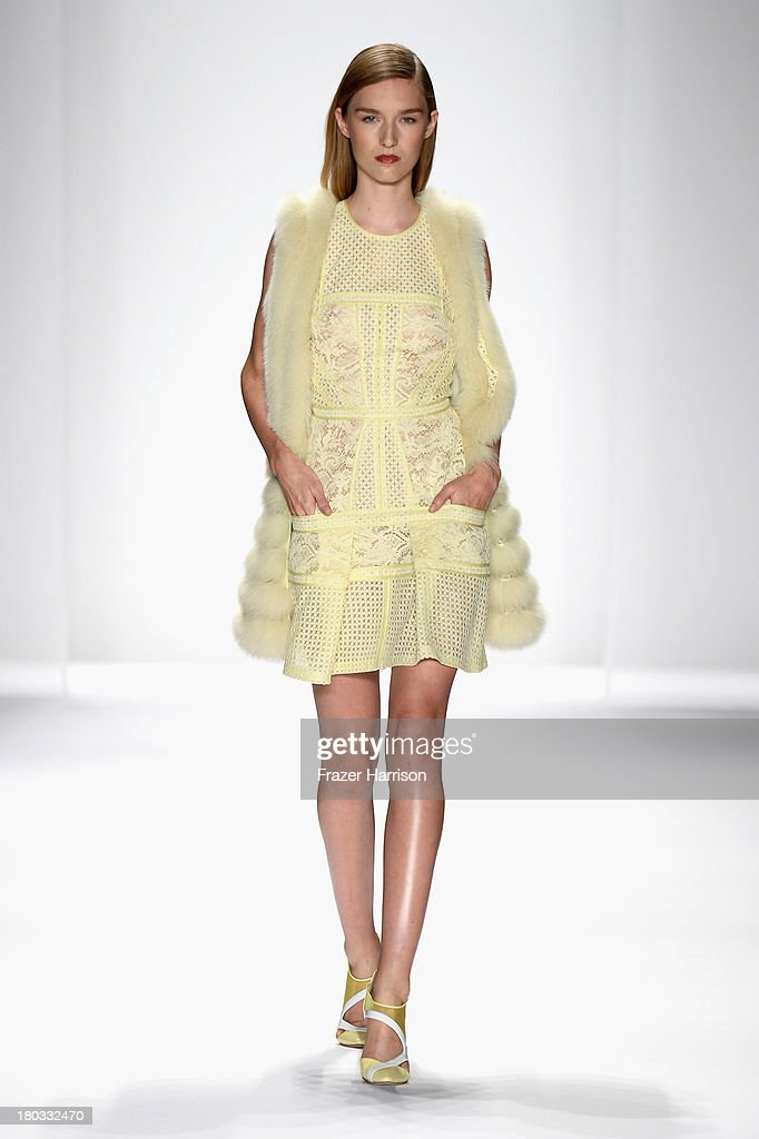 A model walks the runway at the J. Mendel fashion show during Mercedes-Benz Fashion Week Spring 2014 on September 11, 2013 in New York City.