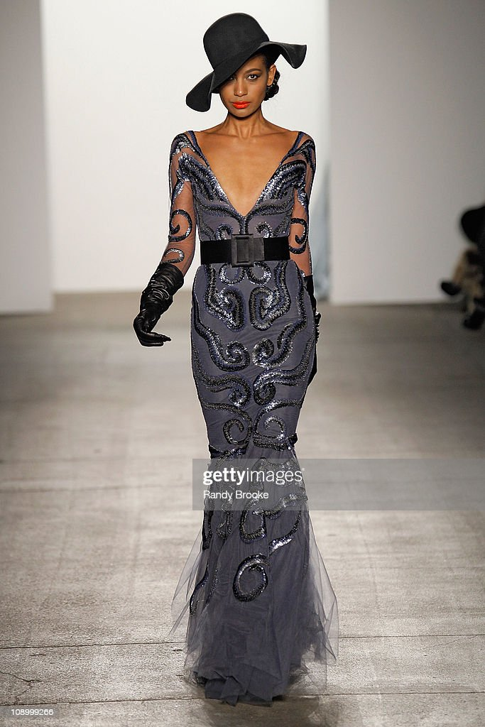 A model walks the runway at the Jad Ghandour Fall 2011 fashion show during Mercedes-Benz Fashion Week at Exit Art on February 10, 2011 in New York City.