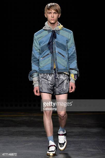 A model walks the runway at the James Long Spring Summer 2016 fashion show during London Menswear Fashion Week on June 14 2015 in London United...