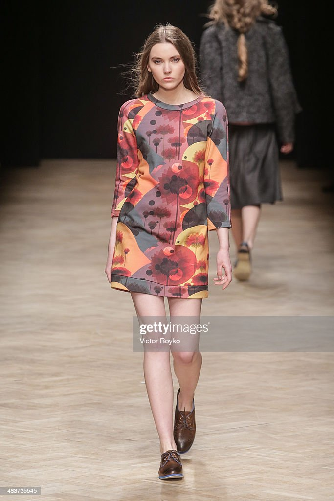 A model walks the runway at the Jana Segetti show during day 1 of Aurora Fashion Week Russia AW14 on April 9, 2014 in Saint Petersburg, Russia.