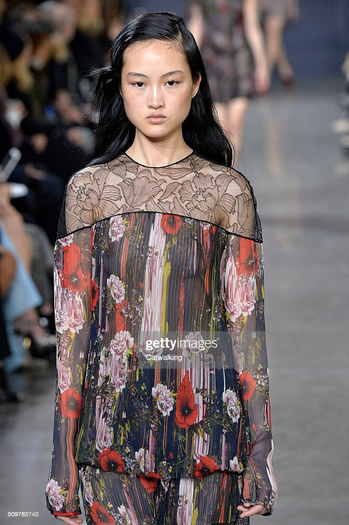 A model walks the runway at the Jason Wu Autumn Winter 2016 fashion show during New York Fashion Week on February 12, 2016 in New York, United States.