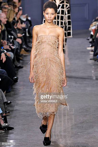 A model walks the runway at the Jason Wu Fall/Winter 2016 fashion show during New York Fashion Week on February 12 2016 in New York City
