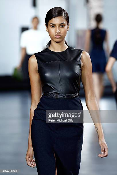 A model walks the runway at the Jason Wu fashion show during MercedesBenz Fashion Week Spring 2015 at Spring Studios on September 5 2014 in New York...
