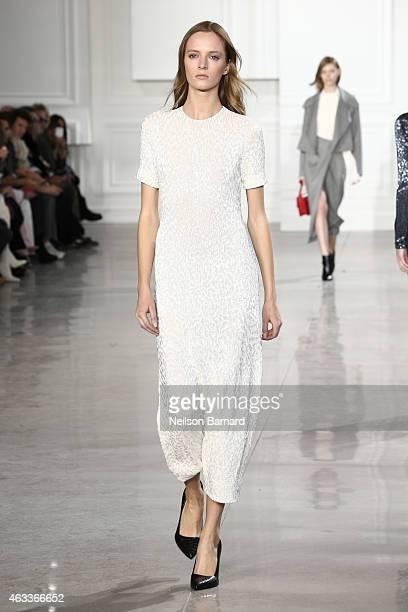 A model walks the runway at the Jason Wu fashion show during MercedesBenz Fashion Week Fall 2015 at Spring Studios on February 13 2015 in New York...