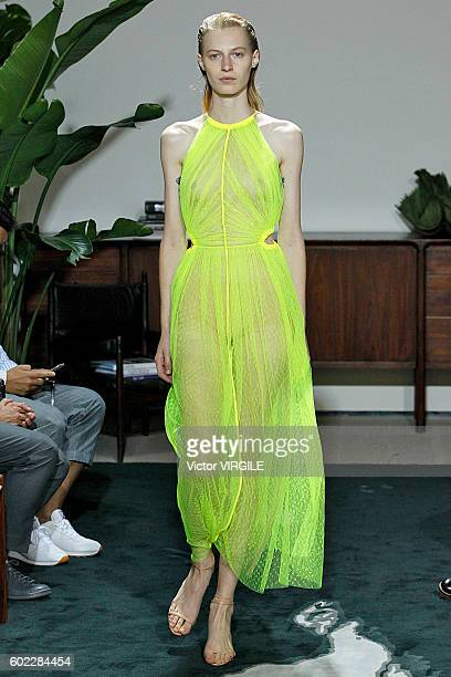 A model walks the runway at the Jason Wu Ready to Wear Spring Summer 2017 fashon show during New York Fashion Week on September 9 2016 in New York...