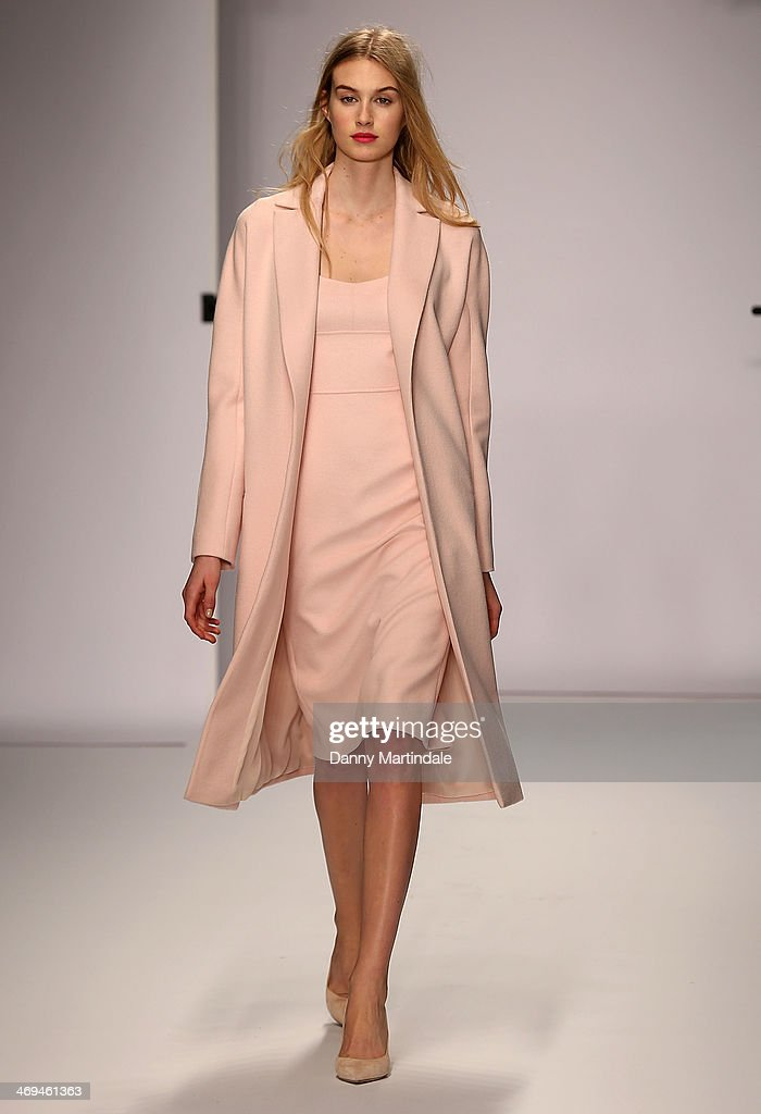 A model walks the runway at the Jasper Conran show at London Fashion Week AW14 at on February 15, 2014 in London, England.