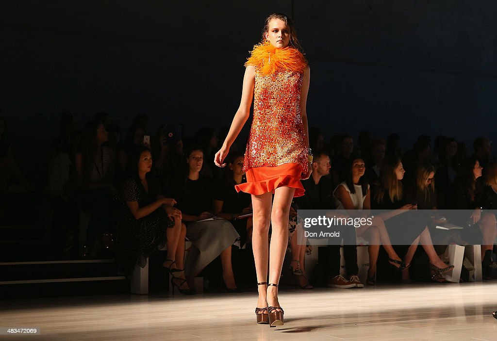 A model walks the runway at the Jayson Brunsdon show during Mercedes-Benz Fashion Week Australia 2014 at Carriageworks on April 9, 2014 in Sydney, Australia.