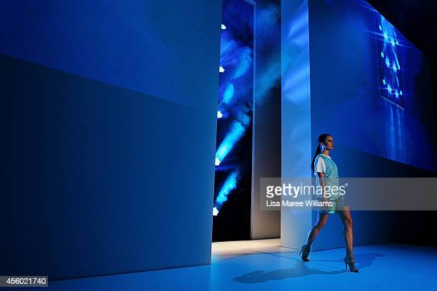 A model walks the runway at the Jayson Brunsdon show during MB Presents Australian Style at MercedesBenz Fashion Festival Sydney at Sydney Town Hall...