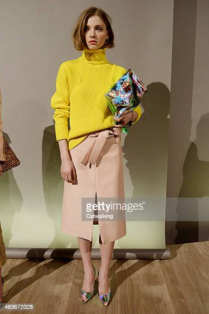 A model walks the runway at the JCrew Autumn Winter 2015 fashion show during New York Fashion Week on February 17 2015 in New York United States