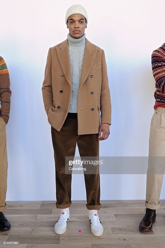A model walks the runway at the J.Crew Autumn Winter 2016 fashion show during New York Fashion Week on February 14, 2016 in New York, United States.