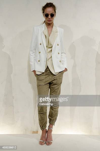A model walks the runway at the JCrew Spring Summer 2015 fashion show during New York Fashion Week on September 9 2014 in New York United States