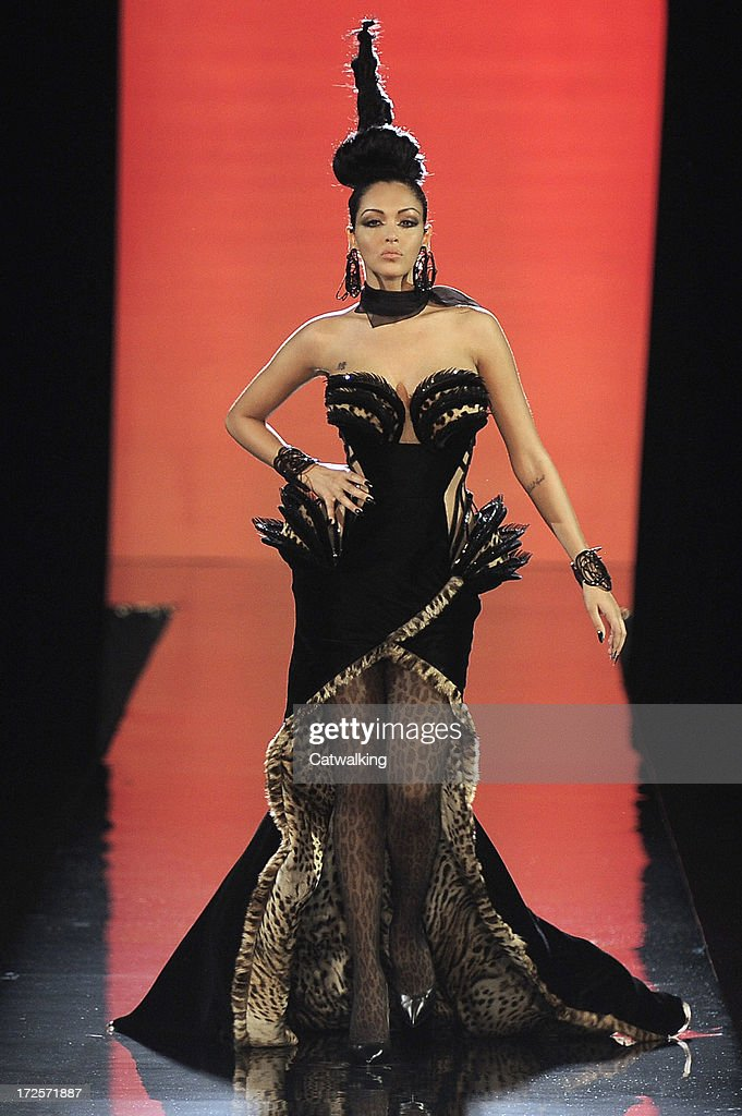 A model walks the runway at the Jean Paul Gaultier Autumn Winter 2013 fashion show during Paris Haute Couture Fashion Week on July 3 2013 in Paris...