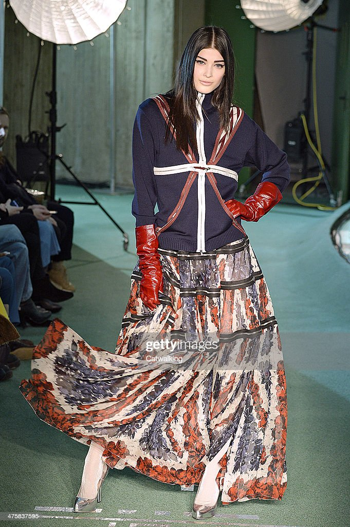 A model walks the runway at the Jean Paul Gaultier Autumn Winter 2014 fashion show during Paris Fashion Week on March 1, 2014 in Paris, France.