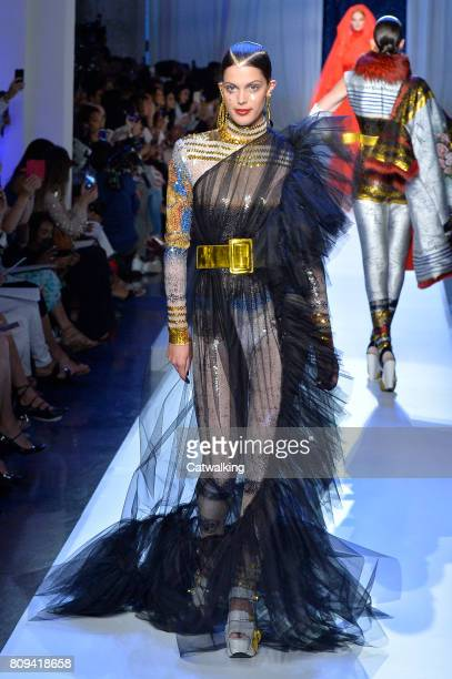 A model walks the runway at the Jean Paul Gaultier Autumn Winter 2017 fashion show during Paris Haute Couture Fashion Week on July 5 2017 in Paris...