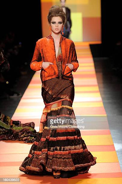 A model walks the runway at the Jean Paul Gaultier Spring Summer 2013 fashion show during Paris Haute Couture Fashion Week on January 23 2013 in...