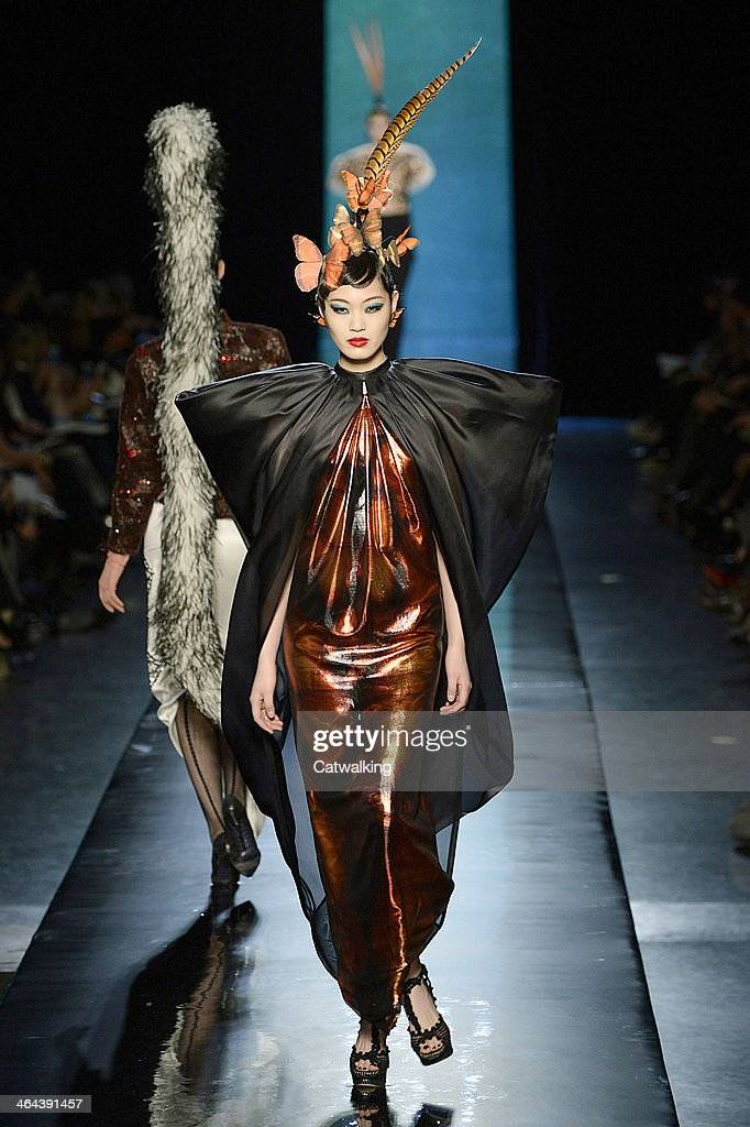 A model walks the runway at the Jean Paul Gaultier Spring Summer 2014 fashion show during Paris Haute Couture Fashion Week on January 22, 2014 in Paris, France.