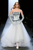 A model walks the runway at the Jean Paul Gaultier Spring Summer 2015 fashion show during Paris Haute Couture Fashion Week on January 28 2015 in...