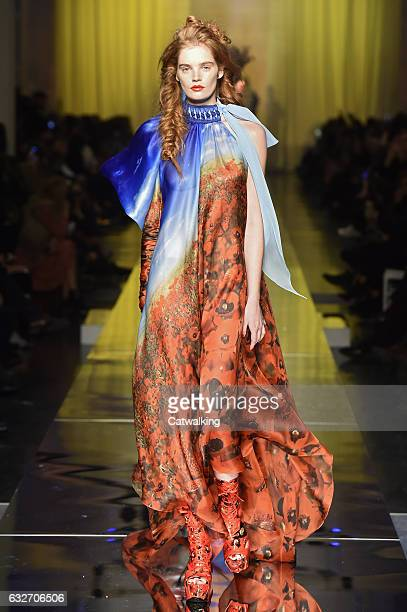 A model walks the runway at the Jean Paul Gaultier Spring Summer 2017 fashion show during Paris Haute Couture Fashion Week on January 25 2017 in...