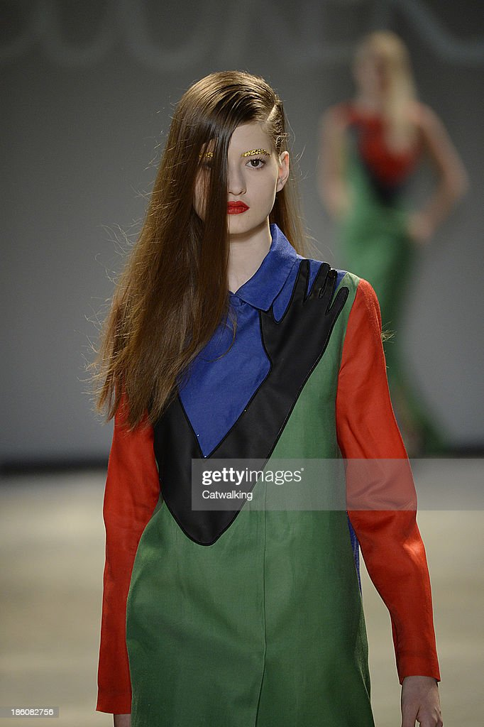 A model walks the runway at the Jean-Charles De Castelbajac Spring Summer 2014 fashion show during Paris Fashion Week on October 1, 2013 in Paris, France.