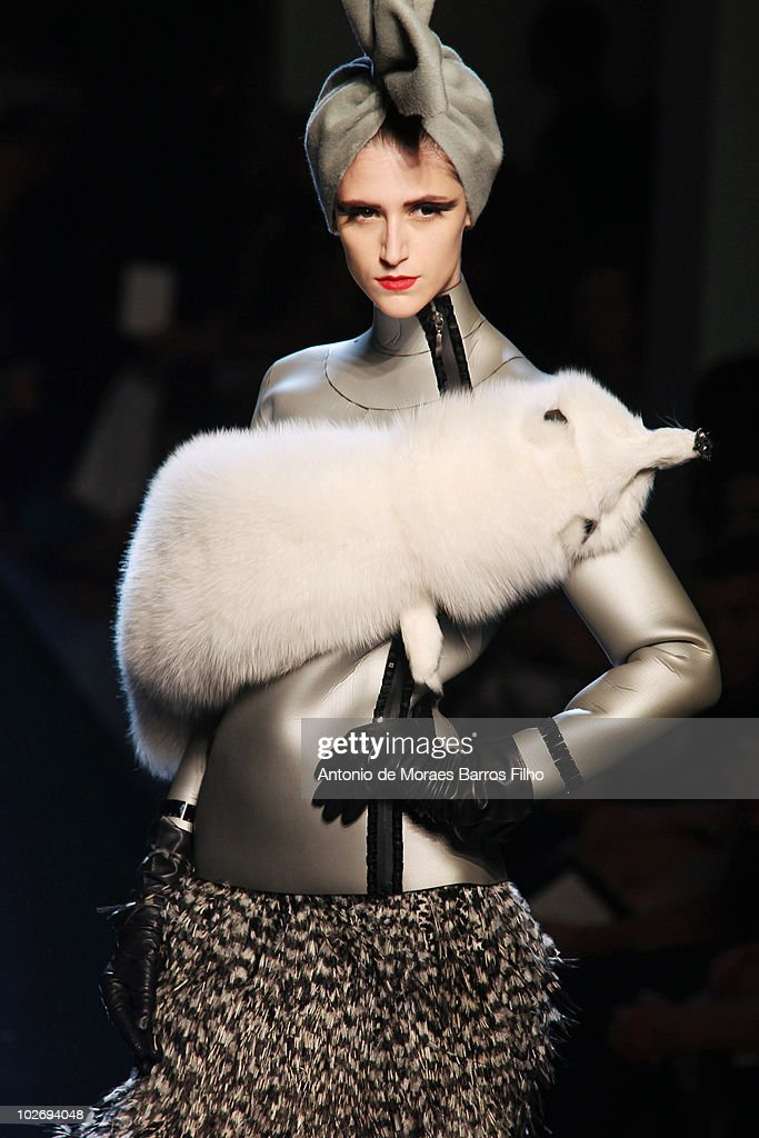 A model walks the runway at the Jean-Paul Gaultiershow as part of the Paris Haute Couture Fashion Week Fall/Winter 2011 on July 7, 2010 in Paris, France.
