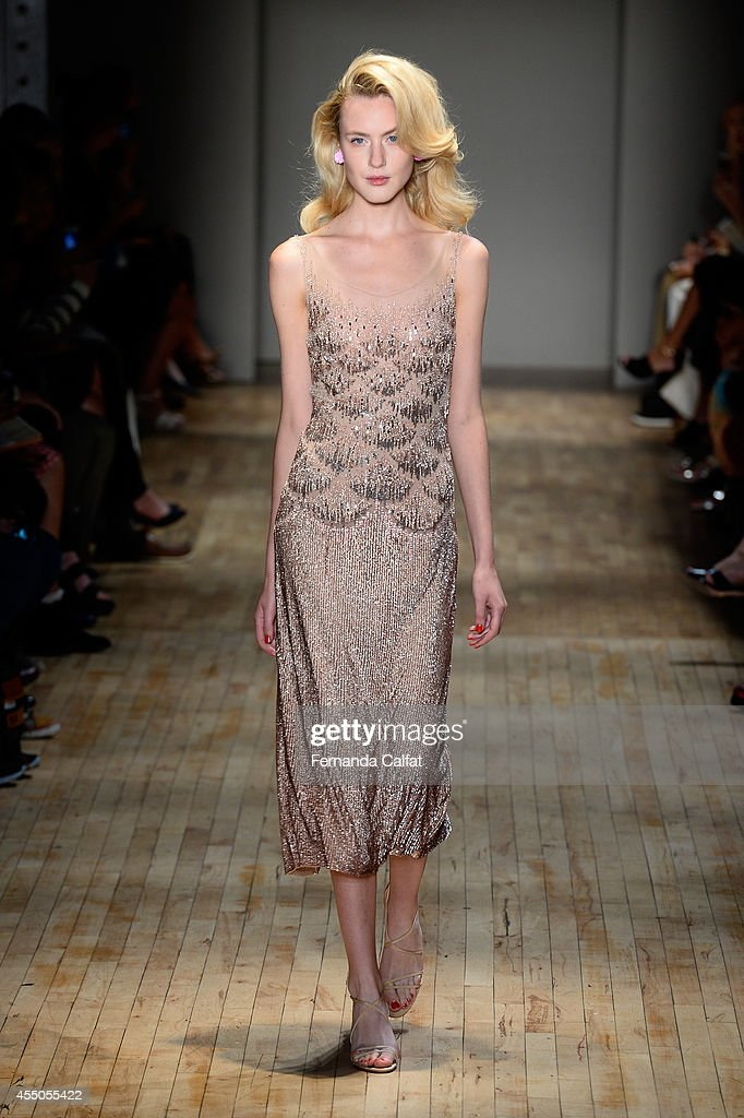 A model walks the runway at the Jenny Packham fashion show during MercedesBenz Fashion Week Spring 2015 on September 9 2014 in New York City