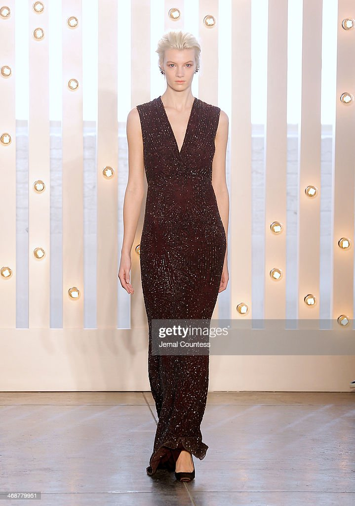 A model walks the runway at the Jenny Packham fashion show during Mercedes-Benz Fashion Week Fall 2014 on February 10, 2014 in New York City.