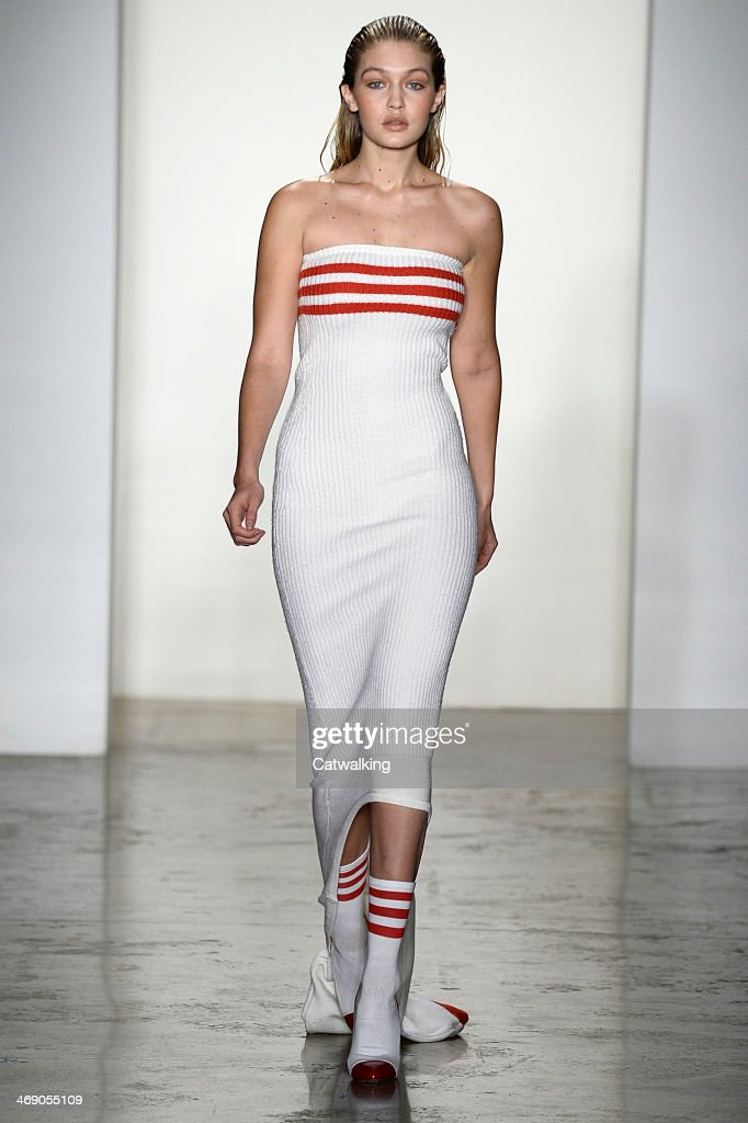 A model walks the runway at the Jeremy Scott Autumn Winter 2014 fashion show during New York Fashion Week on February 12, 2014 in New York, United States.