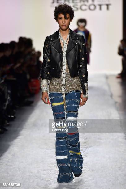 A model walks the runway at the Jeremy Scott Autumn Winter 2017 fashion show during New York Fashion Week on February 10 2017 in New York United...