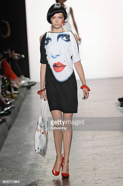 A model walks the runway at the Jeremy Scott Spring Summer 2017 fashion show during New York Fashion Week on September 12 2016 in New York United...
