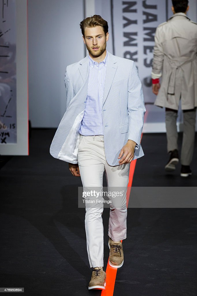 A model walks the runway at the Jermyn Street St James's show during The London Collections Men SS16 at Jermyn Street on June 13 2015 in London...