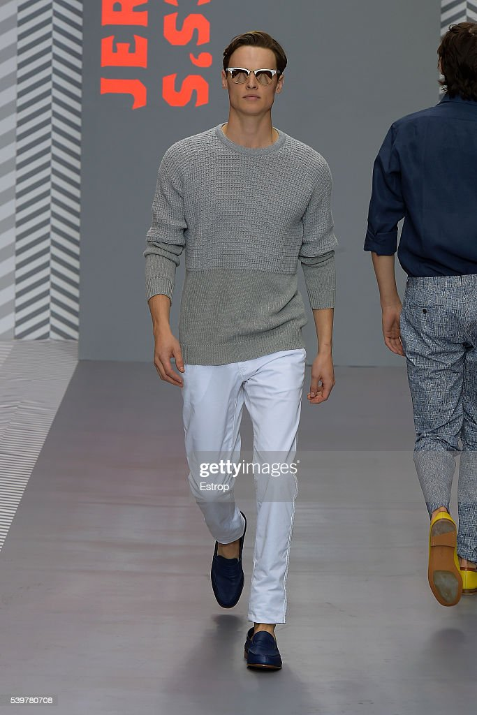 A model walks the runway at the Jermyn Street St James's show during The London Collections Men SS17 on June 11 2016 in London England