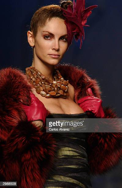 A model walks the runway at the Jesus del Pozo Fall / Winter 2004/05 fashion show during 39th Madrid Cibeles Fashion Week at Parque Ferial Juan...