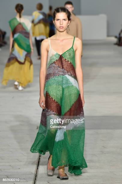 A model walks the runway at the Jil Sander Spring Summer 2018 fashion show during Milan Fashion Week on September 23 2017 in Milan Italy