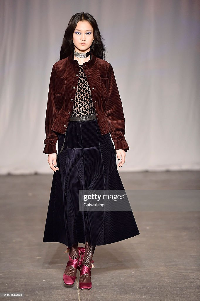 A model walks the runway at the Jill Stuart Autumn Winter 2016 fashion show during New York Fashion Week on February 13, 2016 in New York, United States.