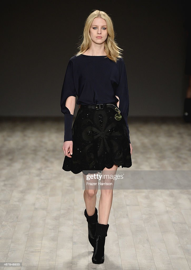 A model walks the runway at the Jill Stuart fashion show during Mercedes-Benz Fashion Week Fall 2014 at The Salon at Lincoln Center on February 8, 2014 in New York City.