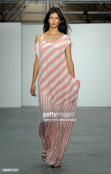 A model walks the runway at the JJS Lee show during London Fashion Week Spring/Summer 2016 on September 18 2015 in London England