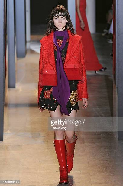 A model walks the runway at the John Galliano Autumn Winter 2015 fashion show during Paris Fashion Week on March 8 2015 in Paris France