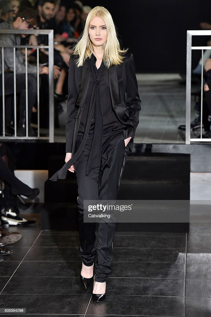 A model walks the runway at the John Richmond Autumn Winter 2016 fashion show during Milan Menswear Fashion Week on January 17 2016 in Milan Italy
