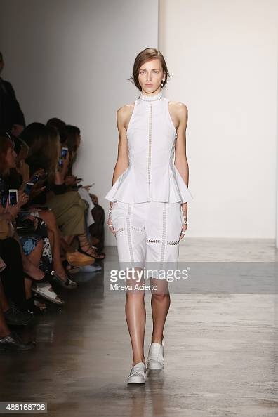A model walks the runway at the Jonathan Simkhai runway show during Spring 2016 MADE Fashion Week at Milk Studios on September 13 2015 in New York...