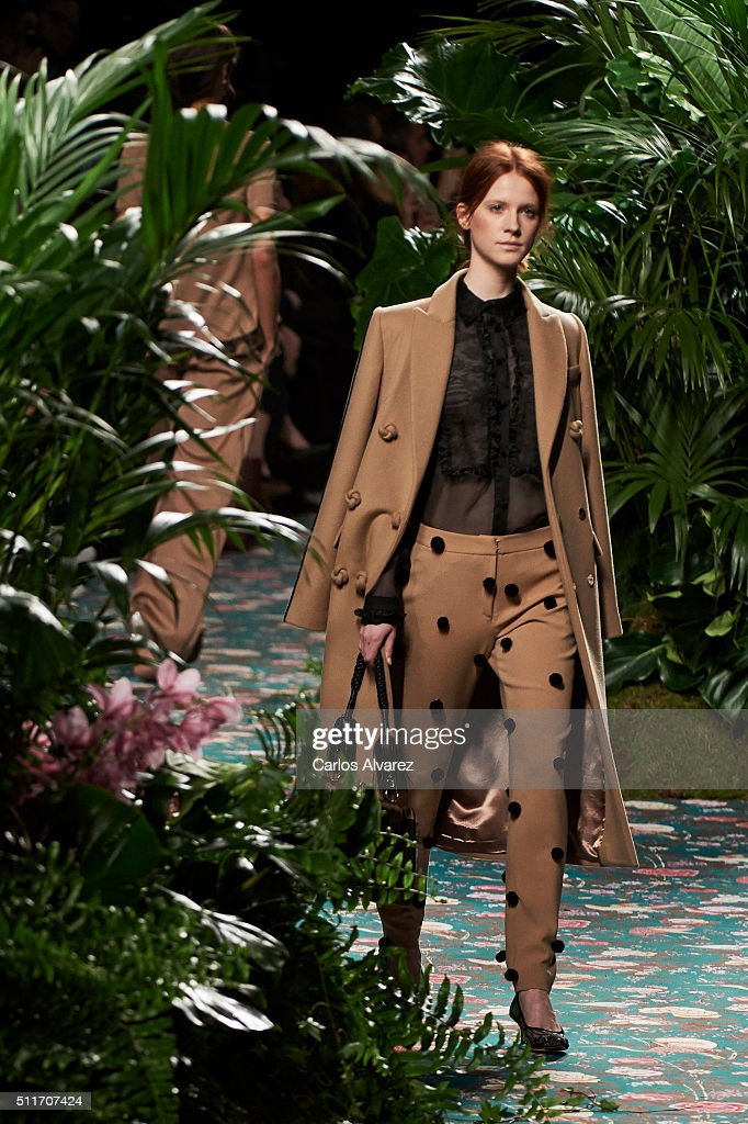 A model walks the runway at the Jorge Vazquez show during the MercedesBenz Madrid Fashion Week Autumn/Winter 2016/2017 at Ifema on February 22 2016...