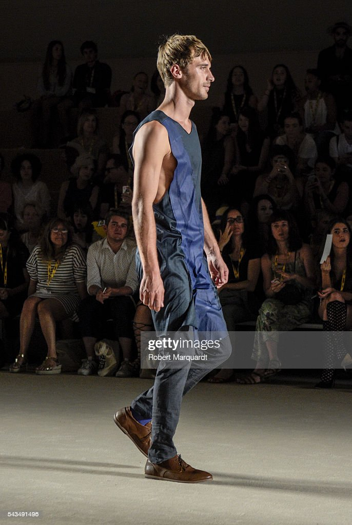 A model walks the runway at the Josep Abril show during the Barcelona 080 Fashion Week Spring/Summer 2017 at the INFEC on June 28, 2016 in Barcelona, Spain.
