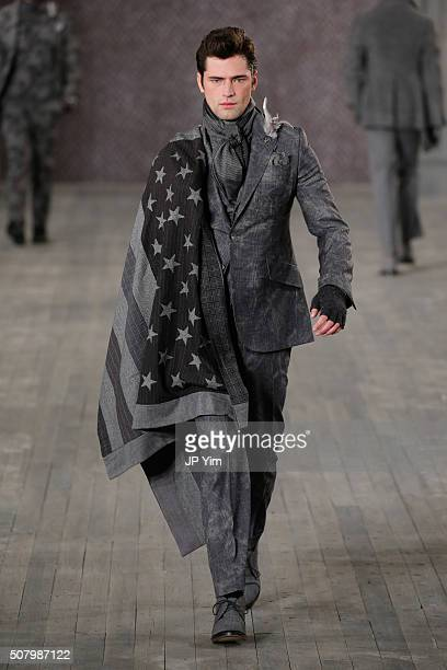 A model walks the runway at the Joseph Abboud Fall2016 Collection during NYFW Mens Fall/Winter 2016 at Skylight at Clarkson Sq on February 2 2016 in...