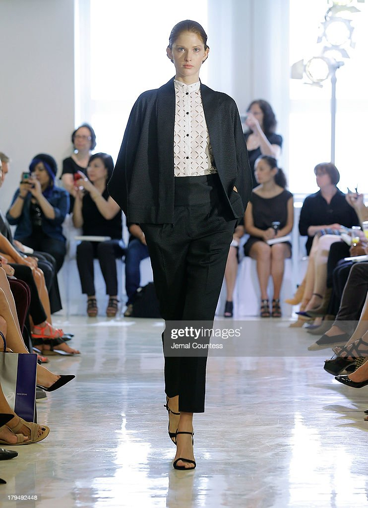 A model walks the runway at the Josie Natori fashion show during Mercedes-Benz Fashion Week Spring 2014 on September 4, 2013 in New York City.