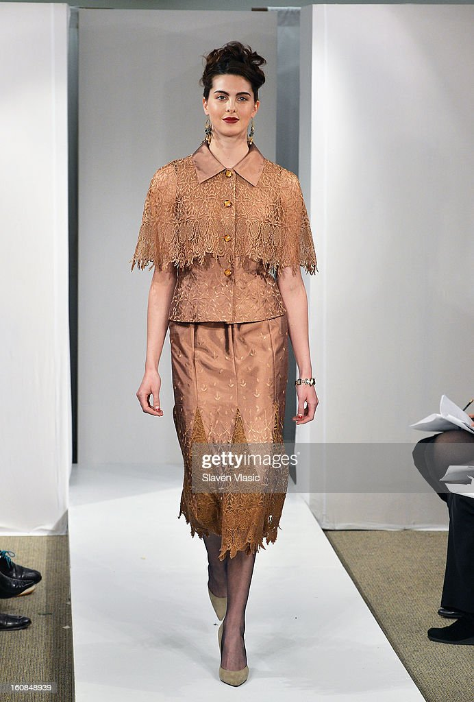 A model walks the runway at the JSong... Way fall 2013 presentation during Mercedes-Benz Fashion Week on February 6, 2013 in New York City.