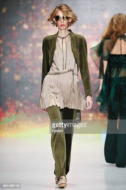 A model walks the runway at the Julia Dalakian during day 5 of Mercedes Benz Fashion Week Russia SS16 at Manege on October 25 2015 in Moscow Russia