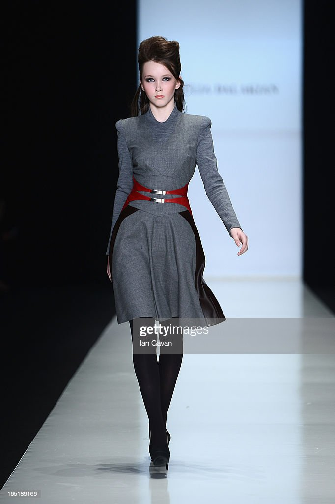 A model walks the runway at the Julia Dalakian show during Mercedes-Benz Fashion Week Russia Fall/Winter 2013/2014 at Manege on April 1, 2013 in Moscow, Russia.