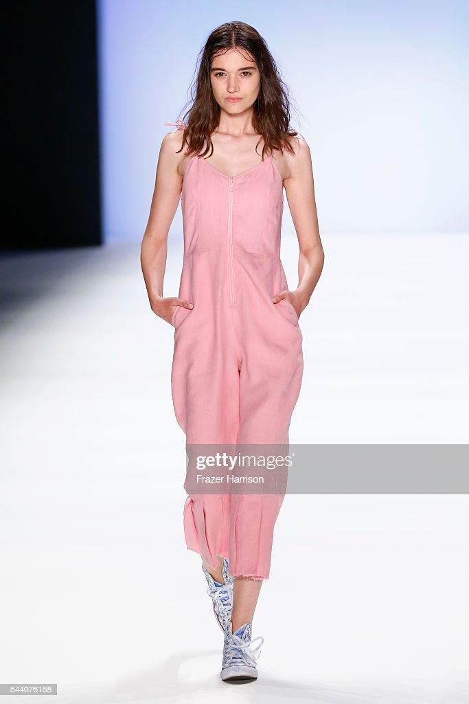 A model walks the runway at the Julian Zigerli show during the Mercedes-Benz Fashion Week Berlin Spring/Summer 2017 at Erika Hess Eisstadion on July 1, 2016 in Berlin, Germany.