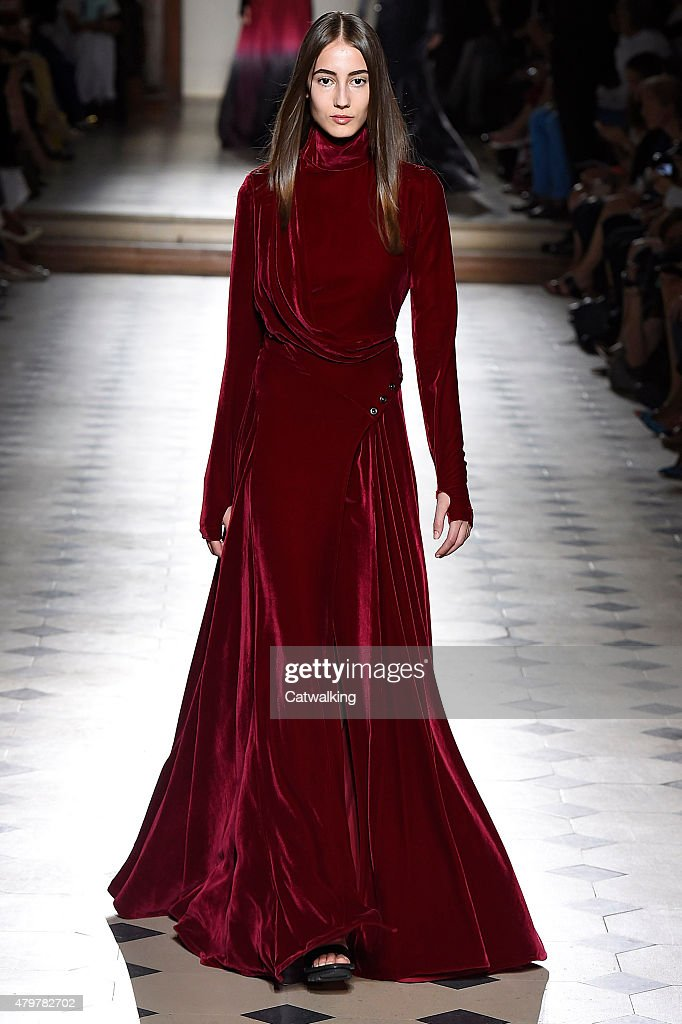 A model walks the runway at the Julien Fournie Autumn Winter 2015 fashion show during Paris Haute Couture Fashion Week on July 7 2015 in Paris France