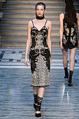 A model walks the runway at the Julien Macdonald Autumn Winter 2015 fashion show during London Fashion Week on February 21 2015 in London United...