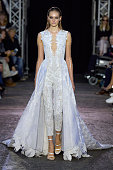 A model walks the runway at the Julien Macdonald Spring Summer 2016 fashion show during London Fashion Week on September 19 2015 in London United...